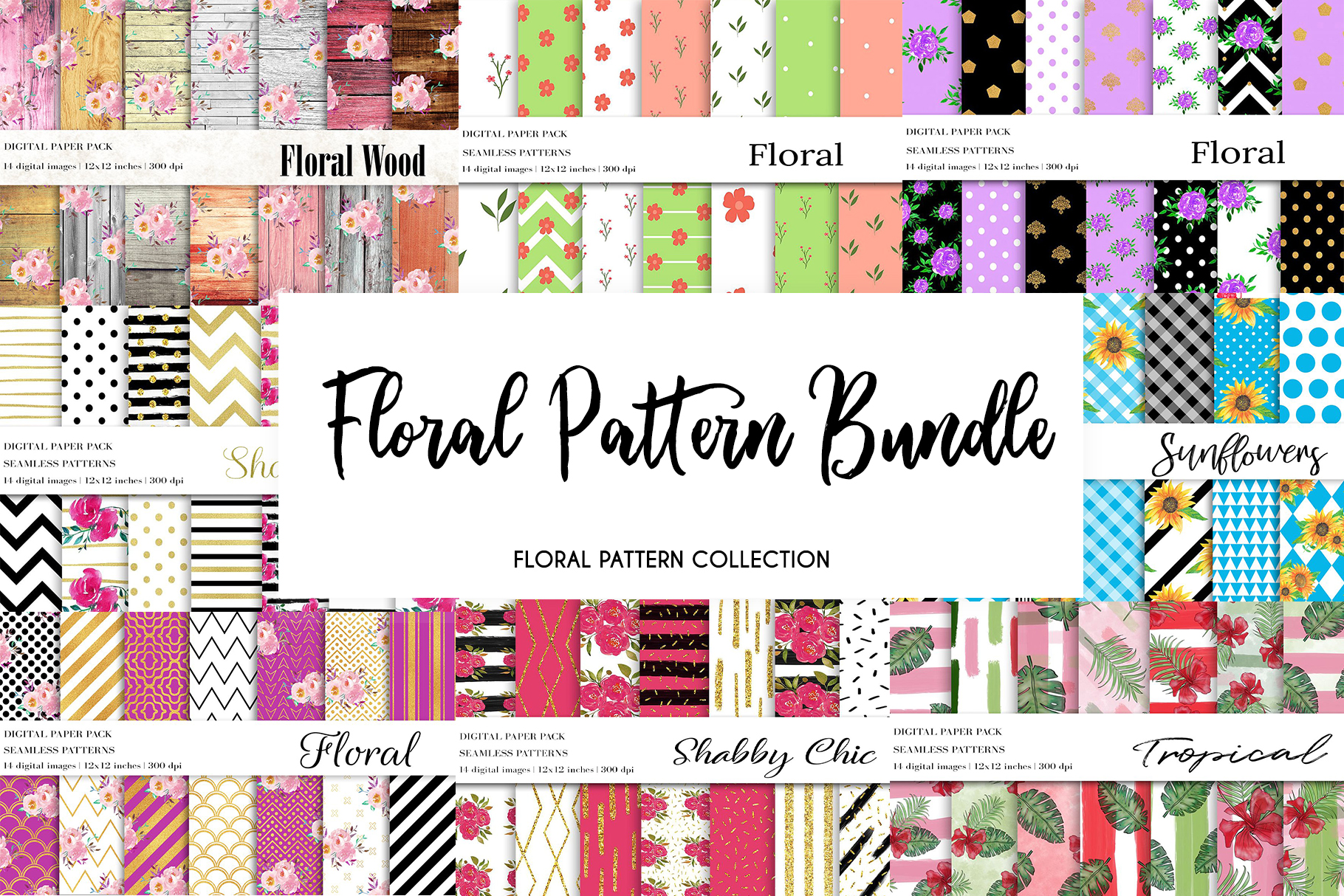 Download Free Floral Pattern Bundle Floral Patterns Graphic By Bonadesigns for Cricut Explore, Silhouette and other cutting machines.