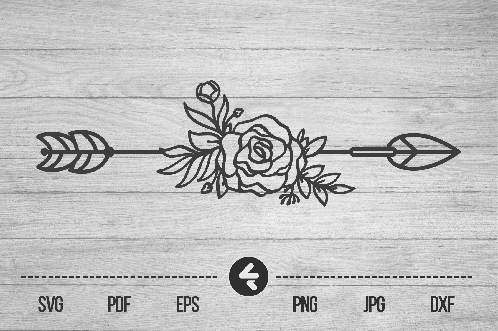 Download Free Flower Arrow Shillouete Graphic By Flocalliastore Creative Fabrica for Cricut Explore, Silhouette and other cutting machines.