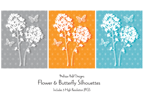 Download Free Flower Butterfly Silhouettes Graphic By Melissa Held Designs for Cricut Explore, Silhouette and other cutting machines.