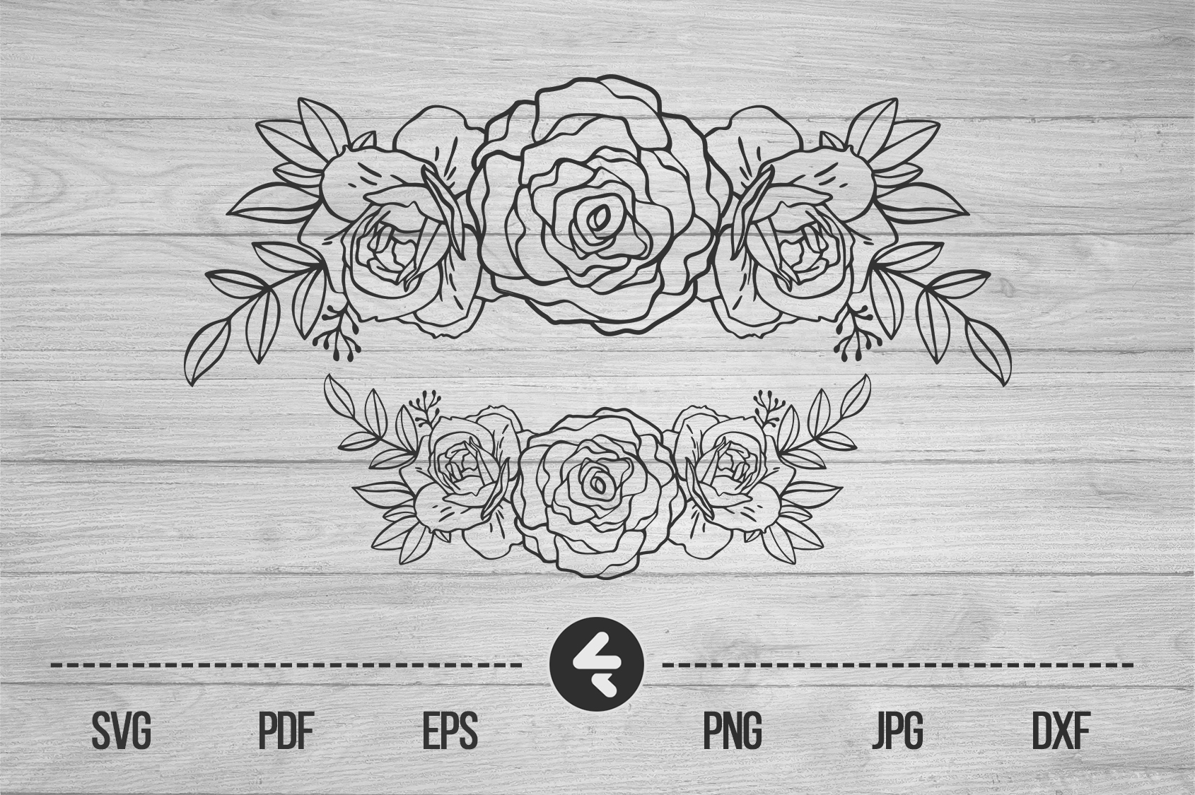 Download Free Flower Frame Roses Graphic By Flocalliastore Creative Fabrica for Cricut Explore, Silhouette and other cutting machines.