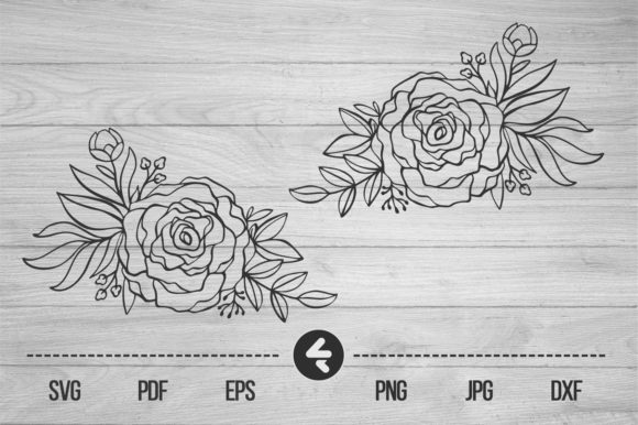 Print on Demand: Flower Frame, Roses Graphic Crafts By flocalliastore