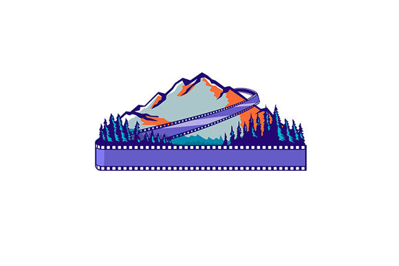 Print on Demand: Flowing Film Strip Mountain and Trees Graphic Illustrations By patrimonio