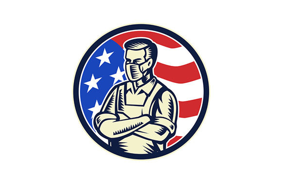 Download Free Food Worker Wearing Mask Usa Flag Retro Graphic By Patrimonio for Cricut Explore, Silhouette and other cutting machines.