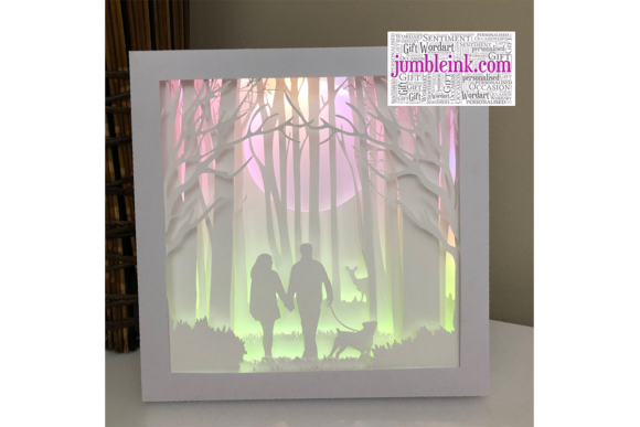 Forest Dog Walk 3D Paper Cut Shadow Box Graphic 3D Shadow Box By Jumbleink Digital Downloads
