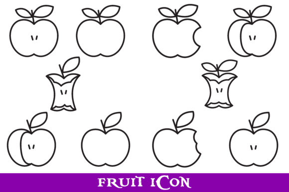 Download Free Fruit Outline Icon Bundle Graphic By Purplespoonpirates Creative Fabrica for Cricut Explore, Silhouette and other cutting machines.