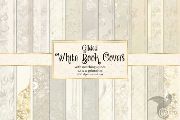 Print on Demand: Gilded White Book Covers Graphic Textures By Digital Curio