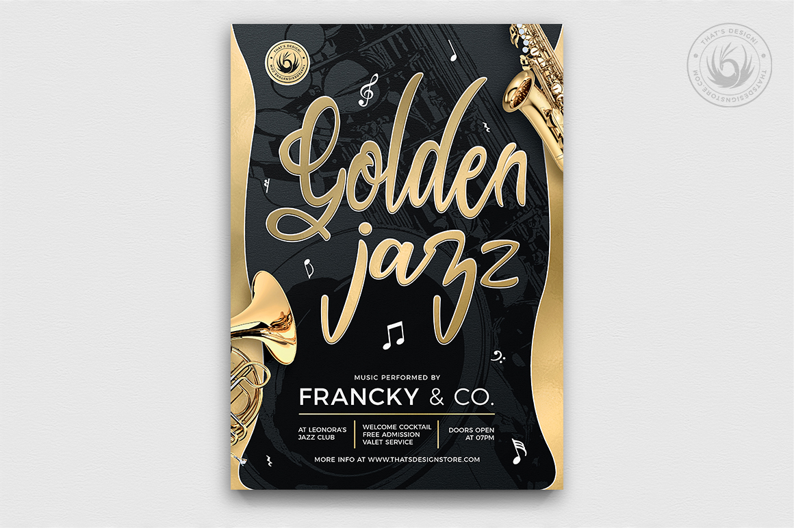 Download Free Golden Jazz Flyer Template V2 Graphic By Thatsdesignstore for Cricut Explore, Silhouette and other cutting machines.