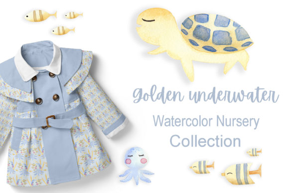 Print on Demand: Golden Underwater - Watercolor Nursery Graphic Illustrations By Andreea Eremia Design