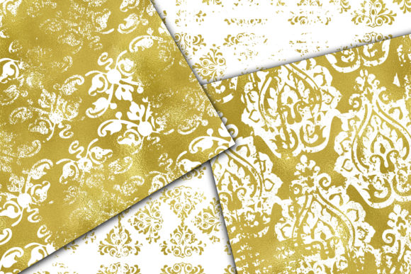 Download Free Grungy Gold And White Digital Paper Graphic By Oldmarketdesigns for Cricut Explore, Silhouette and other cutting machines.