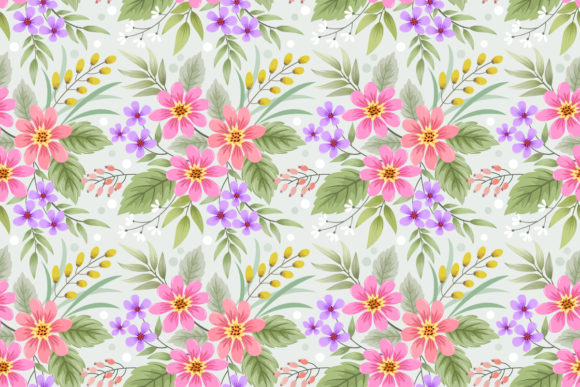 Download Free Hand Drawn Flowers Seamless Pattern Graphic By Ranger262 for Cricut Explore, Silhouette and other cutting machines.