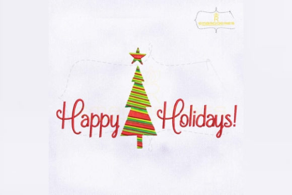 Happy Holidays Christmas Embroidery Design By RoyalEmbroideries