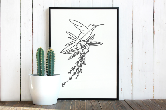 Download Free Hummingbird Bring Flowers Cut File Graphic By Rizuki Store for Cricut Explore, Silhouette and other cutting machines.