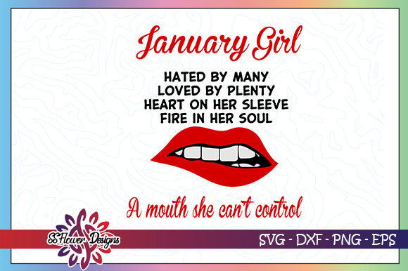 Download Free January Girl Birthday Lips Graphic By Ssflower Creative Fabrica for Cricut Explore, Silhouette and other cutting machines.