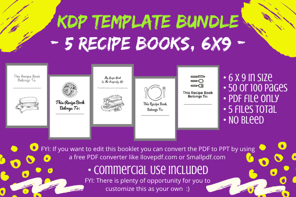 Download Free Kdp Interior 5 Unique Recipe Books Graphic By Tomboy Designs for Cricut Explore, Silhouette and other cutting machines.