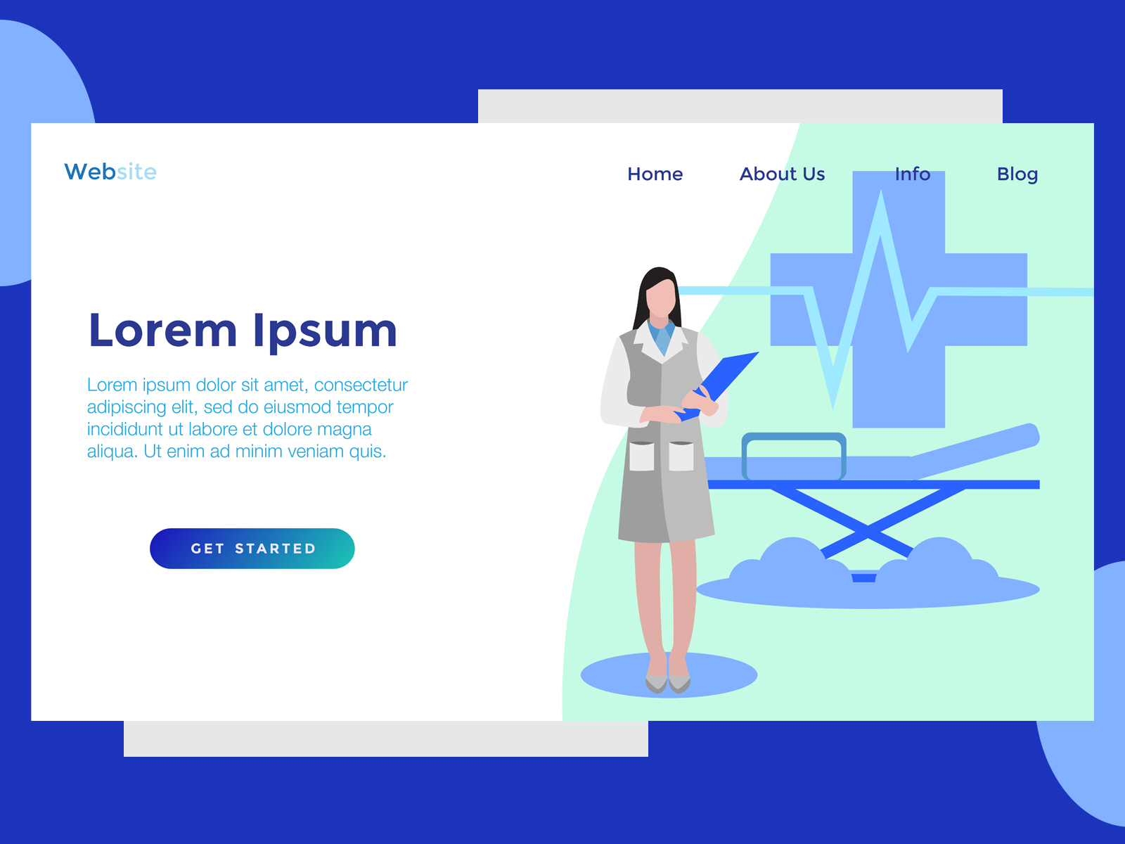 Download Free Landing Page Medic Nurse Note Blue Graphic By Archshape for Cricut Explore, Silhouette and other cutting machines.