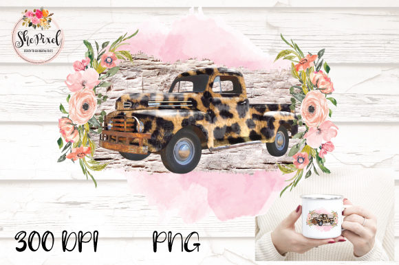 Download Free Leopard Vintage Truck Transparent Graphic By Shepixel Creative for Cricut Explore, Silhouette and other cutting machines.