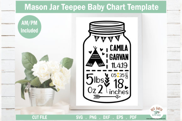 Download Free 1 Boho Baby Stat Template Svg Designs Graphics for Cricut Explore, Silhouette and other cutting machines.