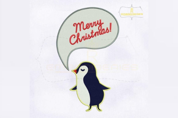 Merry Christmas Speech Bubble Penguin Christmas Embroidery Design By royalembroideries