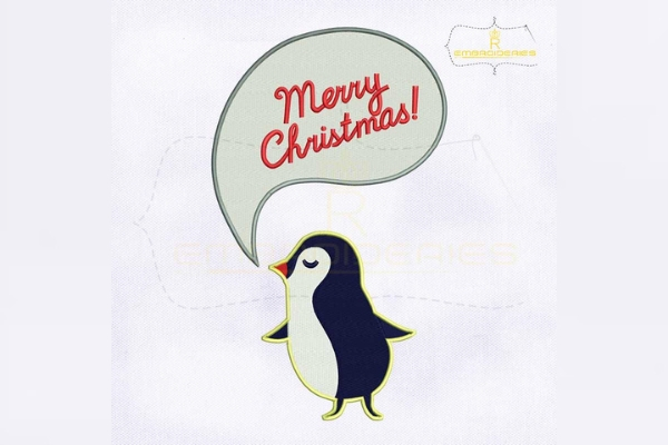 Download Free Merry Christmas Speech Bubble Penguin Creative Fabrica for Cricut Explore, Silhouette and other cutting machines.