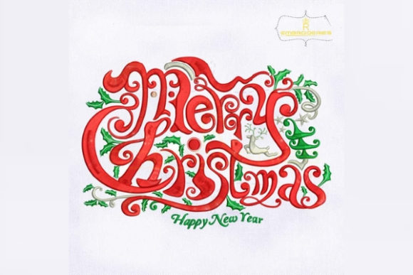 Merry Christmas and Happy New Year Christmas Embroidery Design By royalembroideries