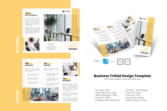 Download Free Modern Trifold Brochure Design Template Graphic By Rivatxfz for Cricut Explore, Silhouette and other cutting machines.