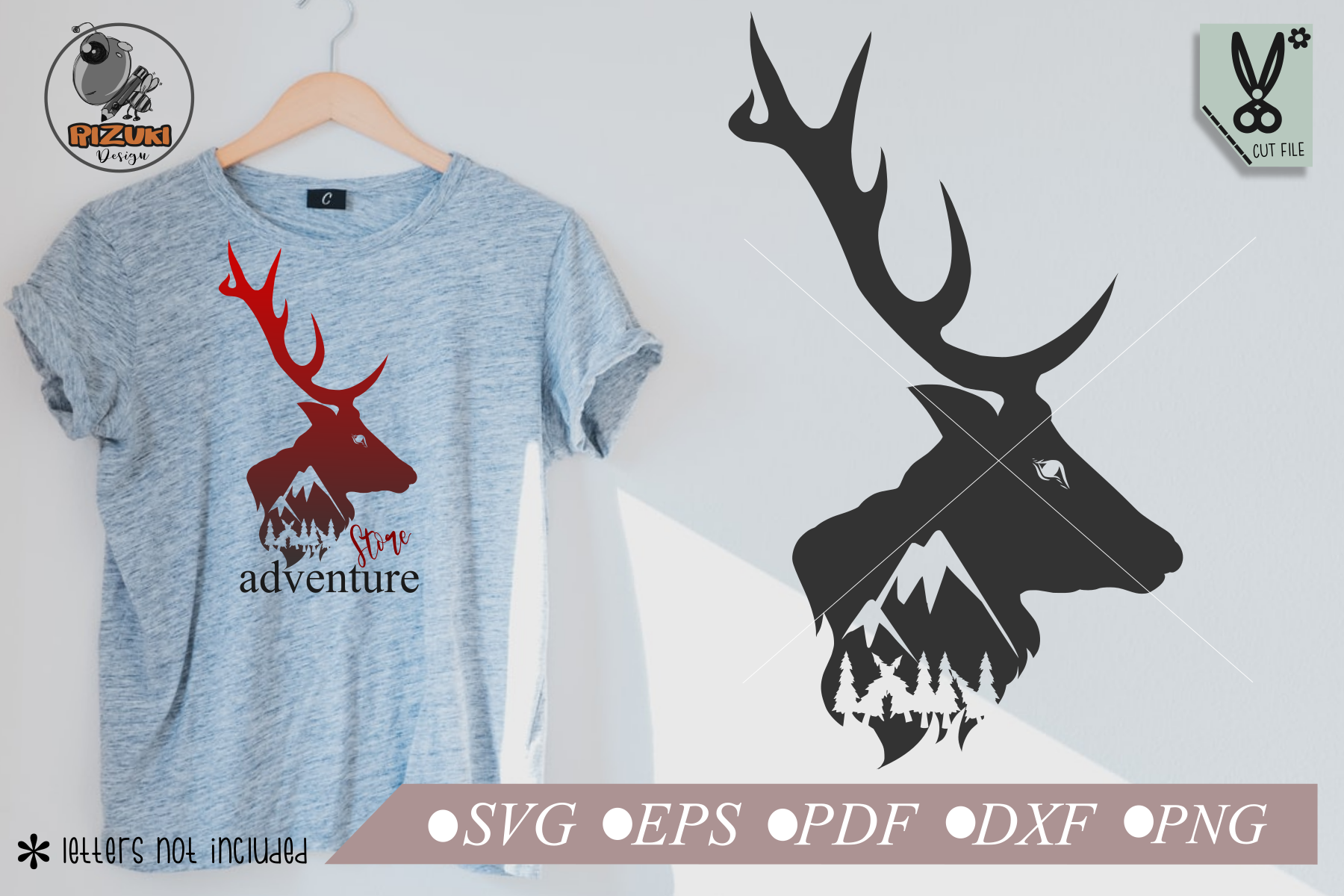 Download Free Montain Deer Silhouette Simple Cut File Graphic By Rizuki Store for Cricut Explore, Silhouette and other cutting machines.