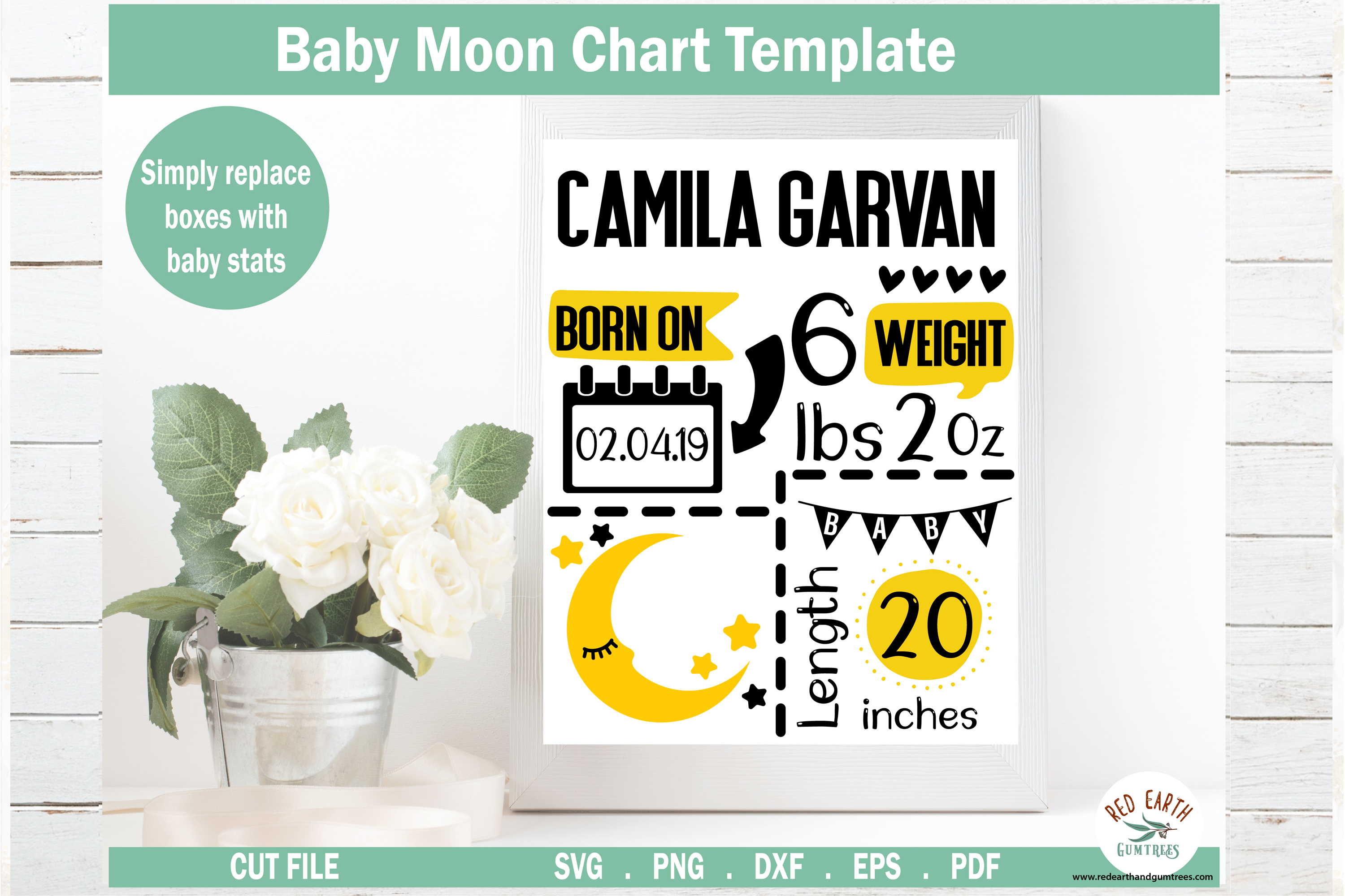 Moon Baby Announcement Chart Template SVG File