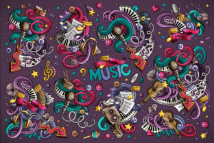 Music Cartoon Doodle Designs Set Graphic Illustrations By BalabOlka