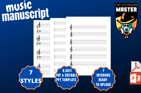 Download Free Music Manuscripts 7 Styles Graphic By Kdp Interiors Master for Cricut Explore, Silhouette and other cutting machines.