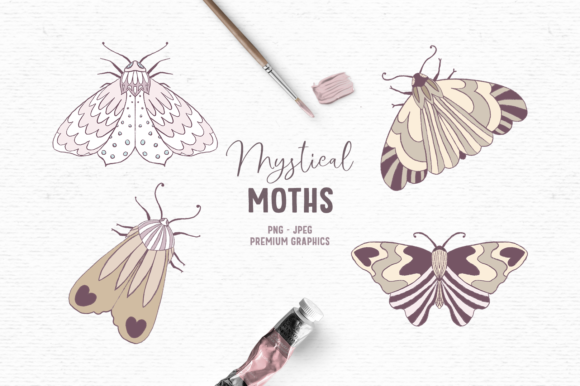 Print on Demand: Mystical Moths Clipart Graphic Illustrations By Wallifyer