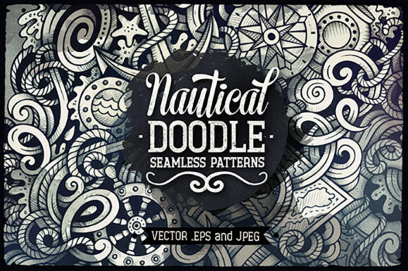 Nautical Doodles Graphics Patterns Set Graphic Patterns By BalabOlka