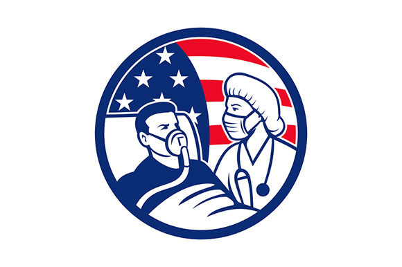 Download Free Nurse Caring For Covid 19 Patient Usa Graphic By Patrimonio for Cricut Explore, Silhouette and other cutting machines.