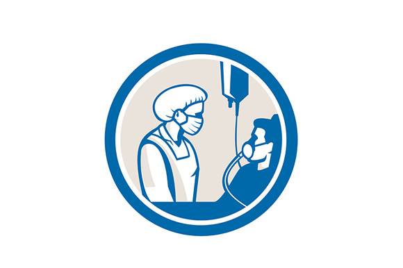 Download Free Nurse Tending Infectious Patient Circle Graphic By Patrimonio for Cricut Explore, Silhouette and other cutting machines.