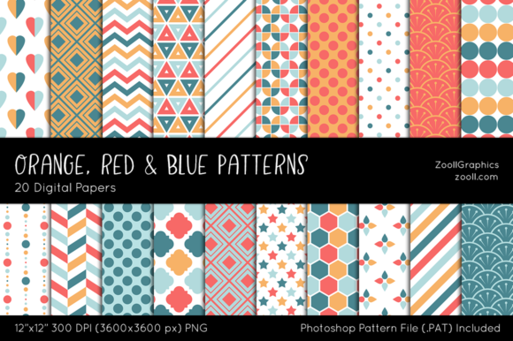 Orange, Red and Blue Digital Papers Graphic Patterns By ZoollGraphics
