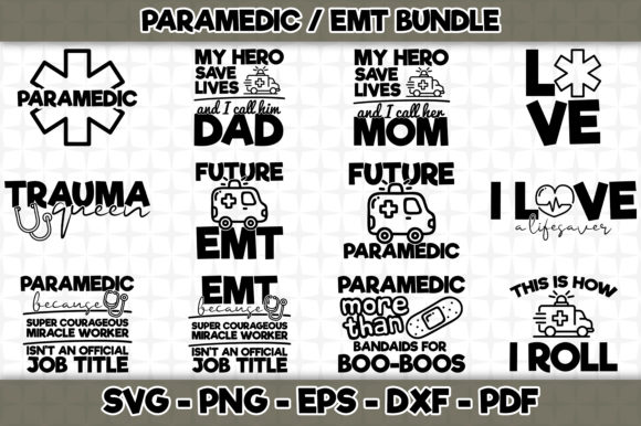 Print on Demand: Paramedic EMT Bundle - 12 Designs Graphic Crafts By SVGExpress