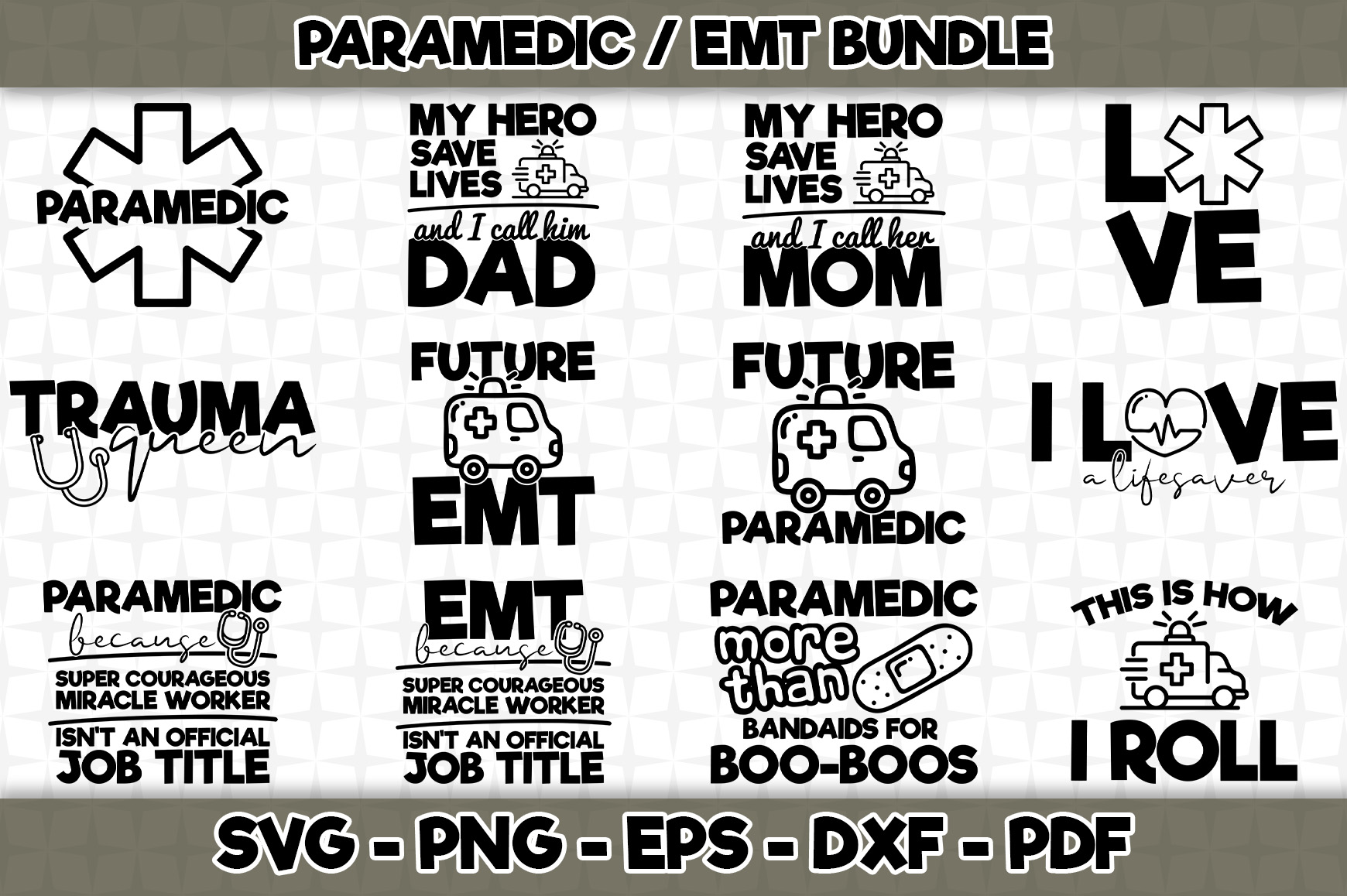 Download Free Paramedic Emt Bundle 12 Designs Graphic By Svgexpress for Cricut Explore, Silhouette and other cutting machines.