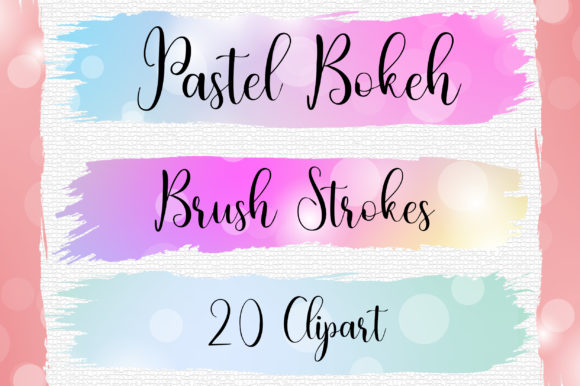 Pastel Bokeh Brush Strokes Clip Art Graphic Backgrounds By PinkPearly