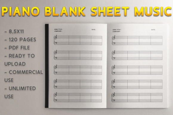 Download Free Piano Blank Sheet Music Kdp Interior Graphic By Kdp Product for Cricut Explore, Silhouette and other cutting machines.