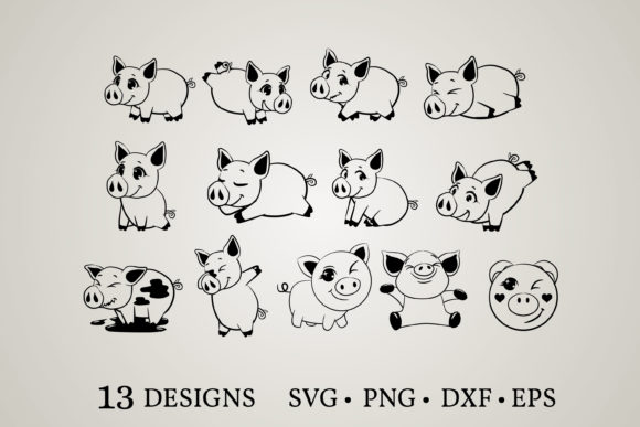 Pig Bundle Graphic Print Templates By Euphoria Design