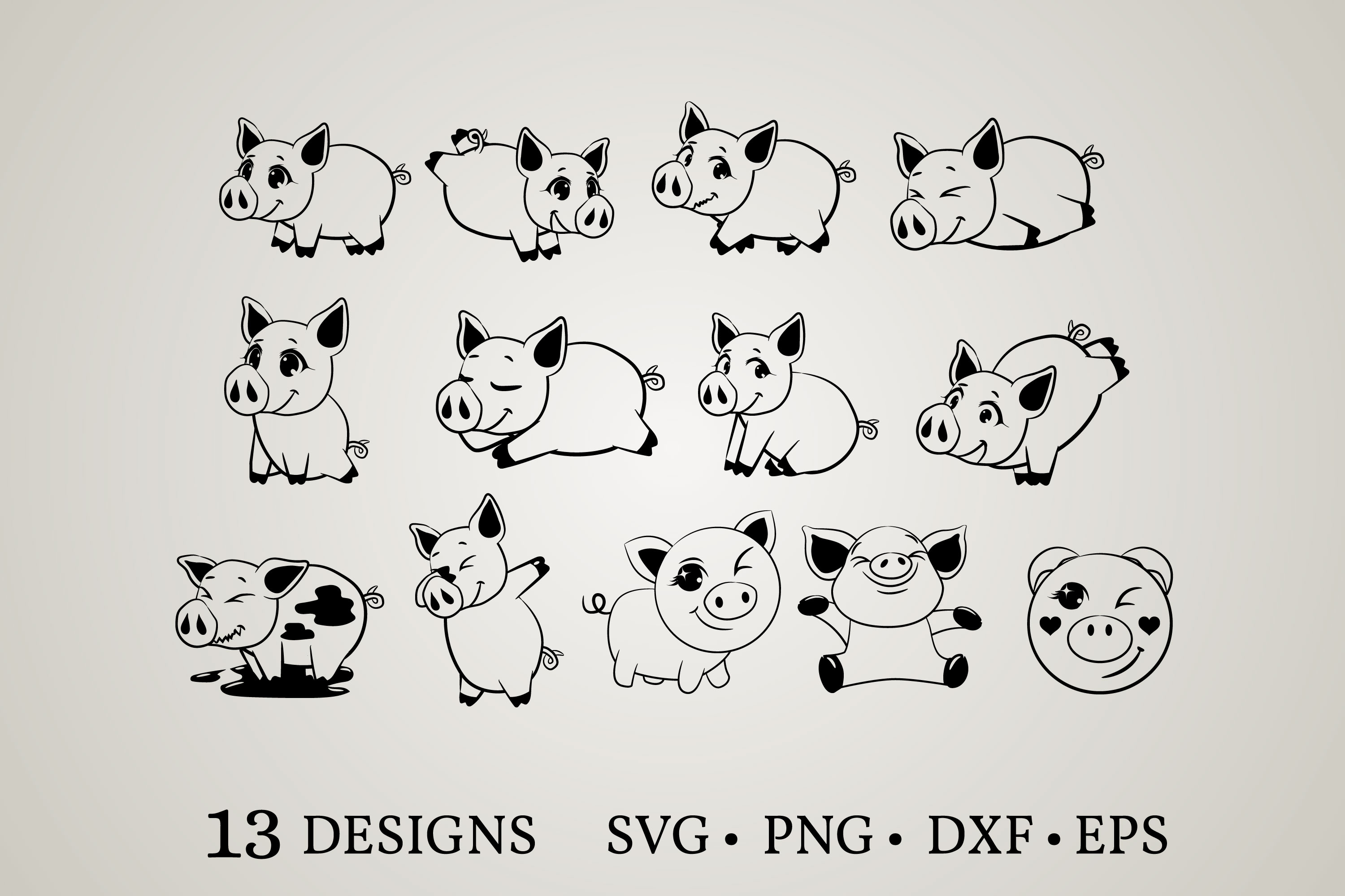 Download Free Pig Bundle Graphic By Euphoria Design Creative Fabrica for Cricut Explore, Silhouette and other cutting machines.