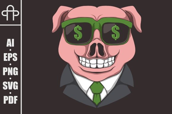 Download Free Pig Eyeglasses Dollar Graphic By Andypp Creative Fabrica for Cricut Explore, Silhouette and other cutting machines.
