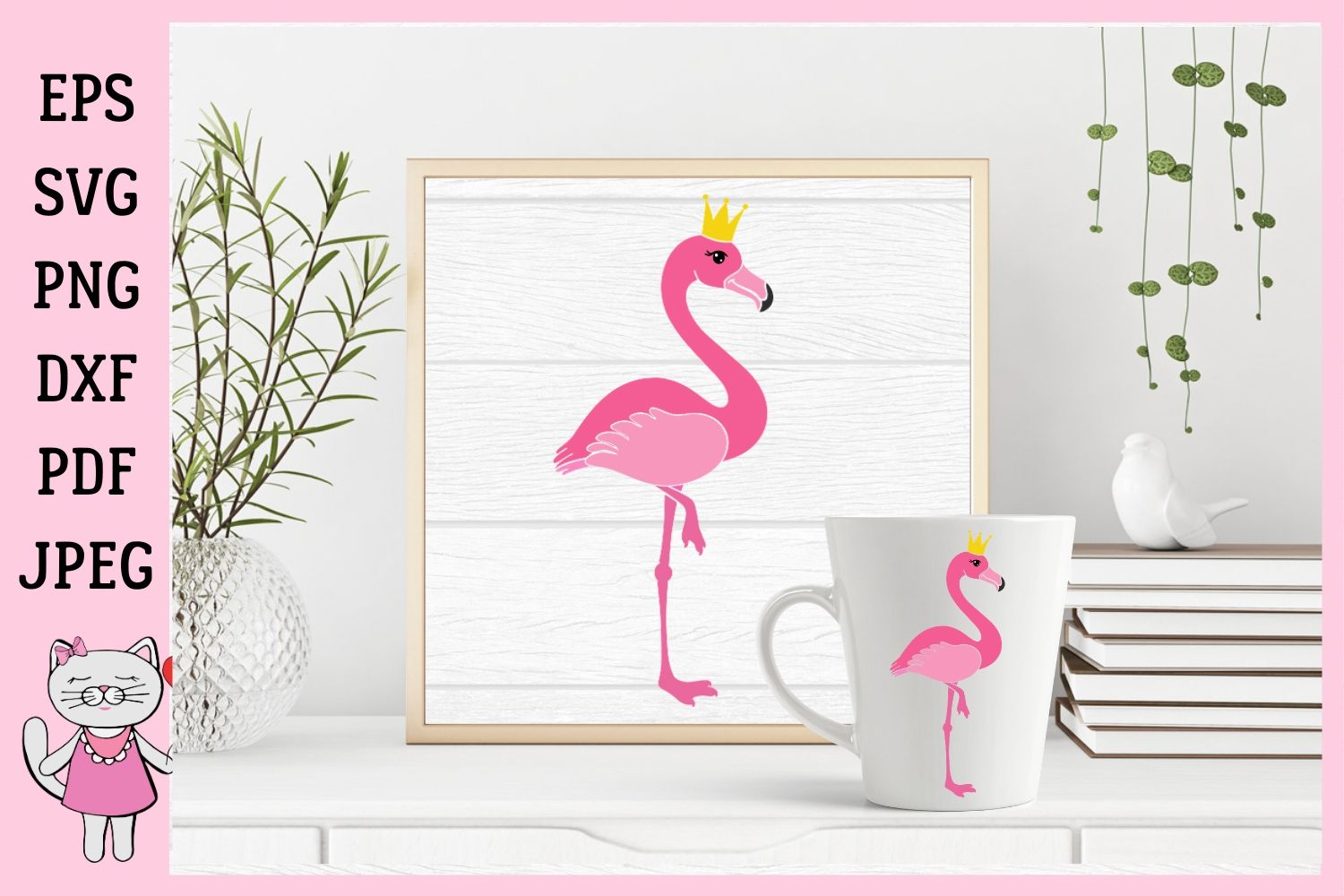 Download Free Pink Flamingo Graphic By Magic World Of Design Creative Fabrica for Cricut Explore, Silhouette and other cutting machines.