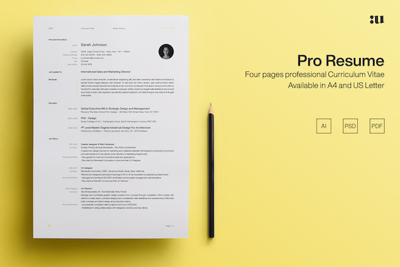 Pro Resume Template Graphic Print Templates By unio.creativesolutions