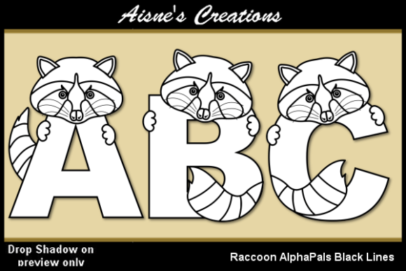 Print on Demand: Raccoon AlphaPals Blacl Lines Graphic Illustrations By Aisne