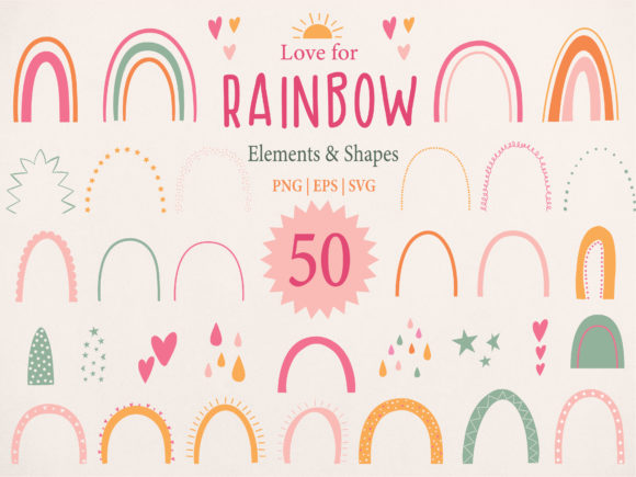 Download Free Rainbow Individual Elements Clipart Graphic By for Cricut Explore, Silhouette and other cutting machines.