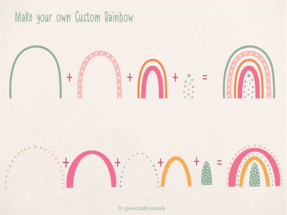 Rainbow Individual Elements Clipart Graphic Illustrations By EssentiallyNomadic - Image 2