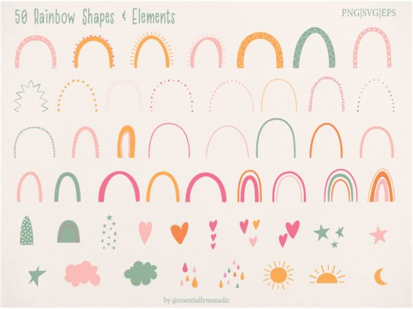 Rainbow Individual Elements Clipart Graphic Illustrations By EssentiallyNomadic - Image 5