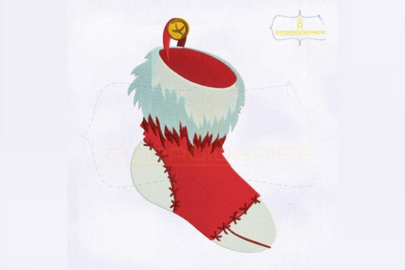 Red Christmas Stocking Christmas Embroidery Design By royalembroideries