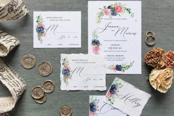 Download Free Rose Blue Wreath Wedding Suite Graphic By Blue Robin Design for Cricut Explore, Silhouette and other cutting machines.