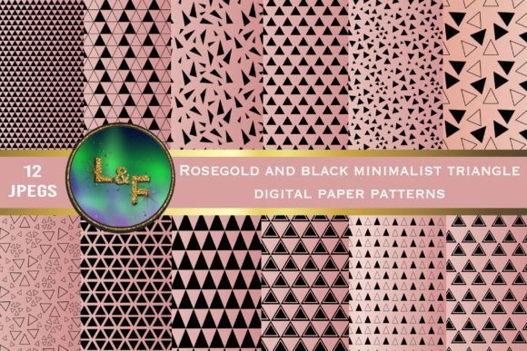 Rosegold Black Triangle Paper Patterns Graphic Illustrations By Lynx and Fairytale